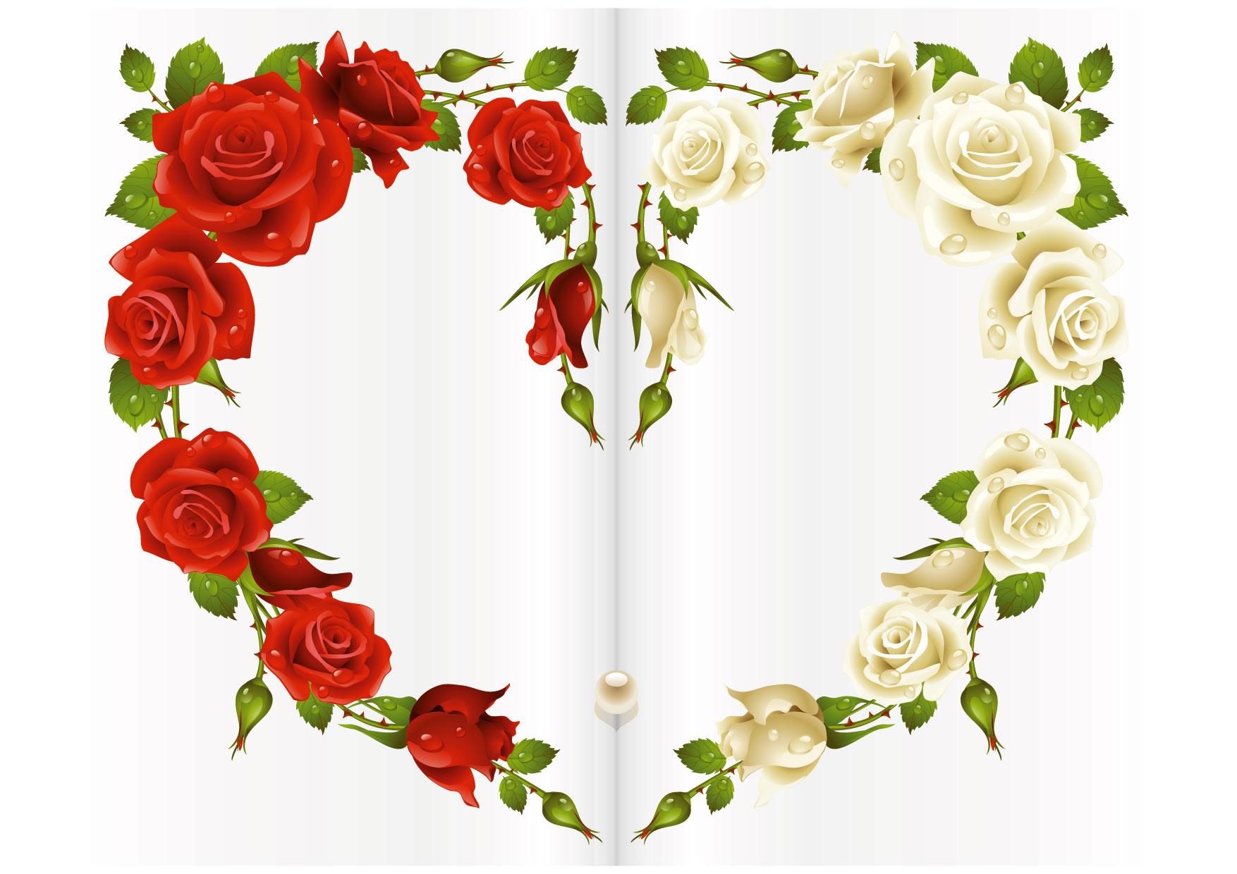 Dolcissimo biglietto cuore con rose per i vostri auguri più belli.