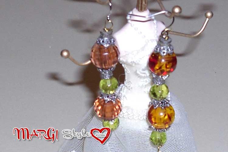 Tutorial orecchini lunghi fai da te ambra e verde for Orecchini con pietre dure fai da te