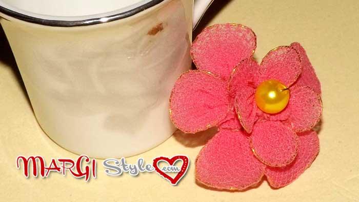 fiori di pesco fai da te con nylon