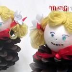Trasformare una pigna in bambolina