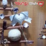 Dietroporta di Natale con bastoncini